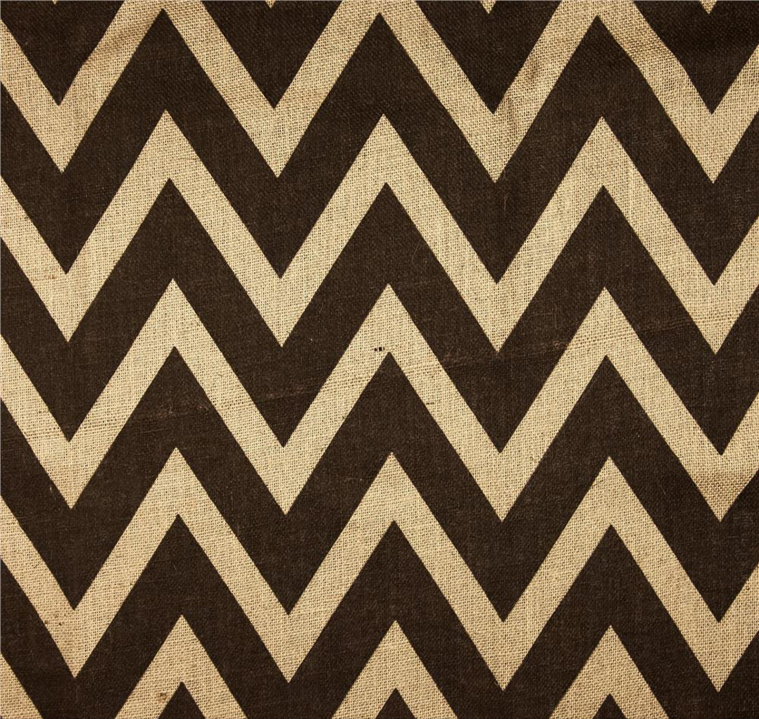 "60"" Chevron Burlap Florida Sand/Brown By The Yard"