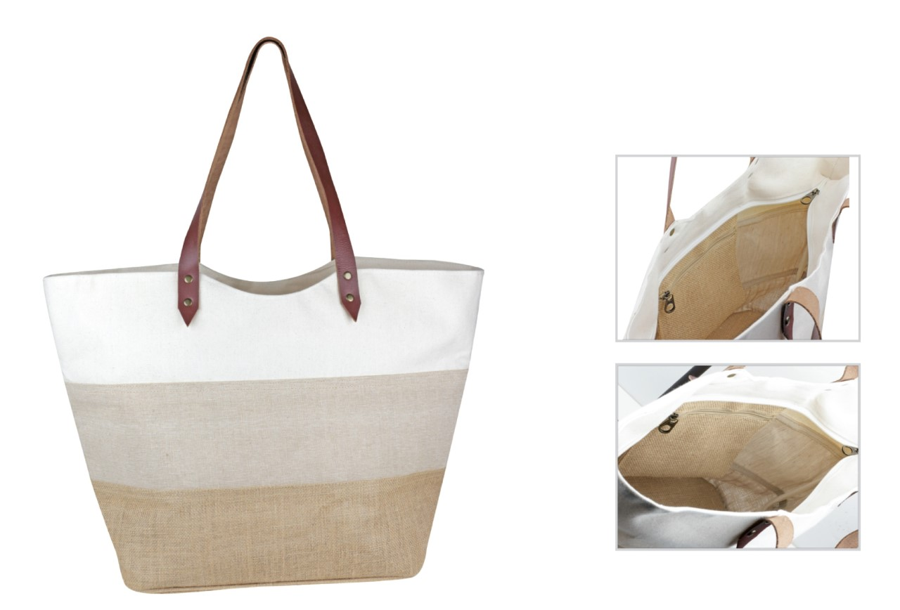 "Tri-Material Tote Bag with Leather Handles 21""W x 13.5""H x 7""D"