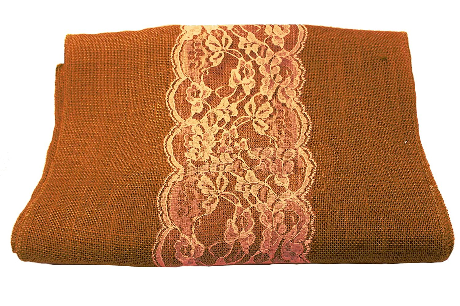 "14"" Copper Burlap Runner with 6"" Ivory Lace"