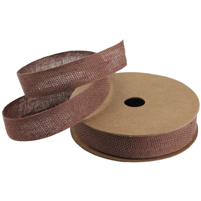 "Brown 5/8"" Linen/Cotton Ribbon - 25 Yards"