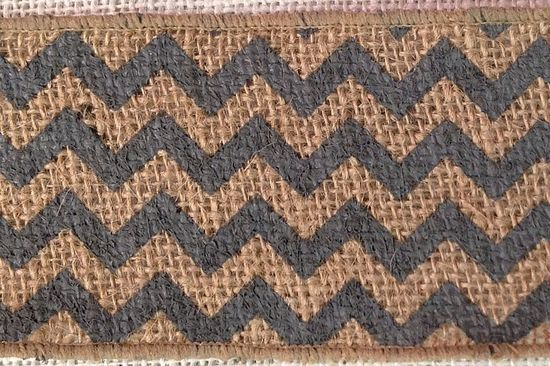 "2.5"" Natural/Dark Gray Chevron Burlap Ribbon - 10 Yards"