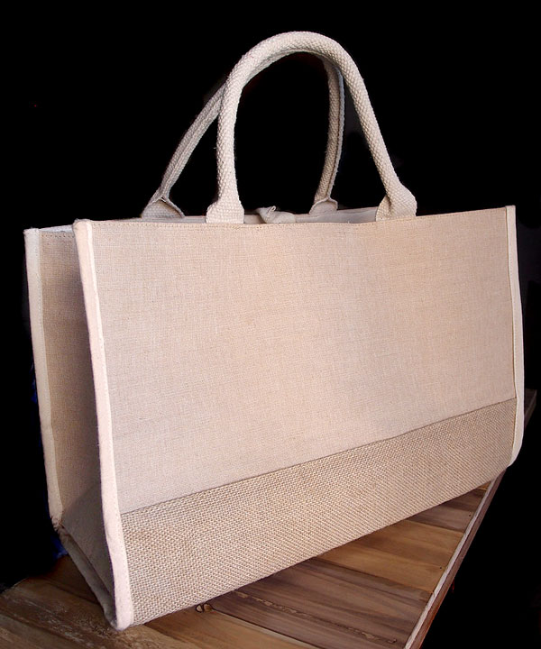 "Jute Tote Bag with Cotton and Burlap Accents 17.5""WX11.5""HX8.5""D"