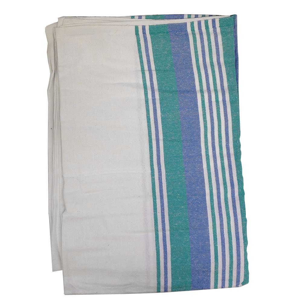 "Flannel Blanket 72"" x 90"" - Blue/Green Stripes"