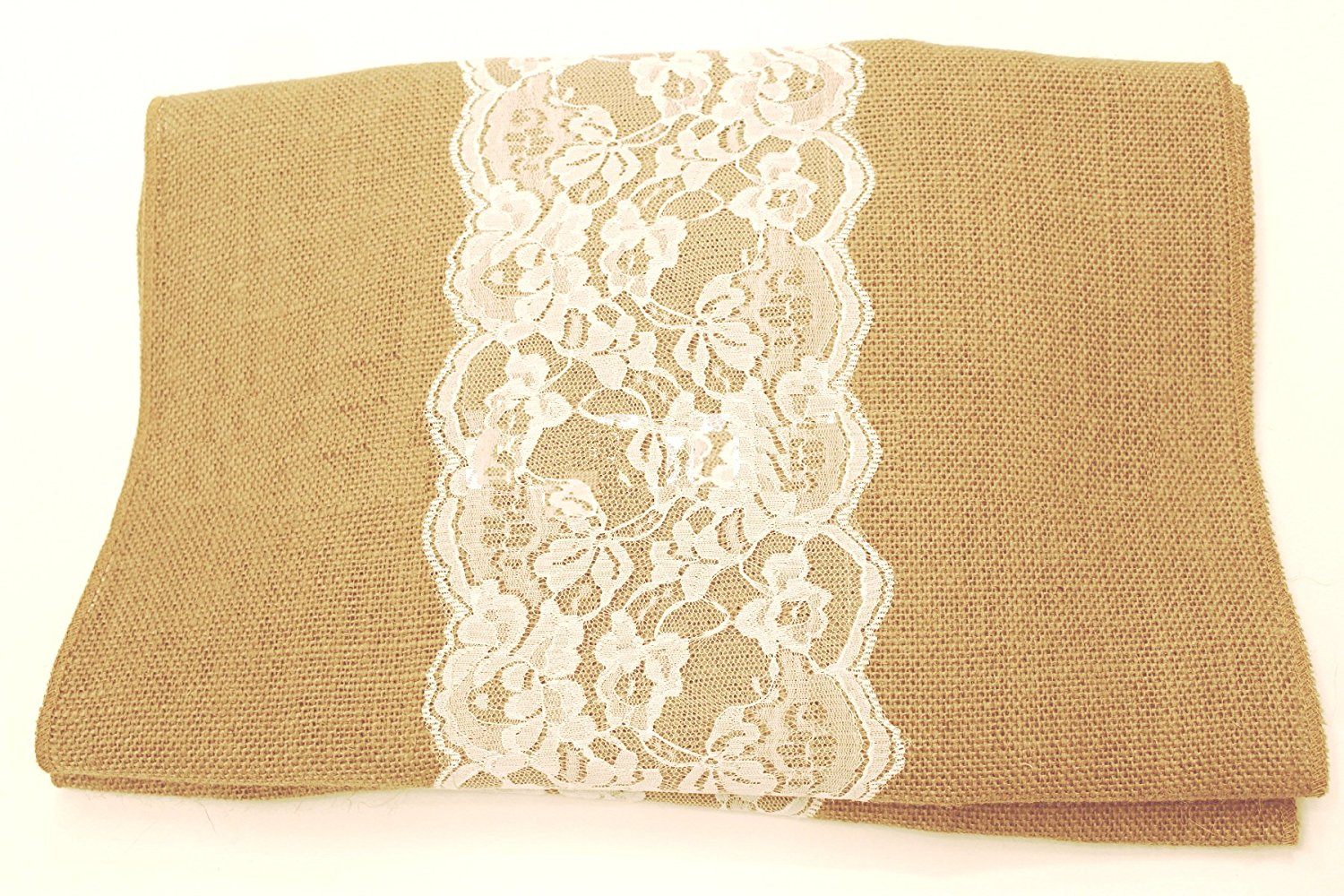 "14"" Florida Sand Burlap Runner with 6"" White Lace"