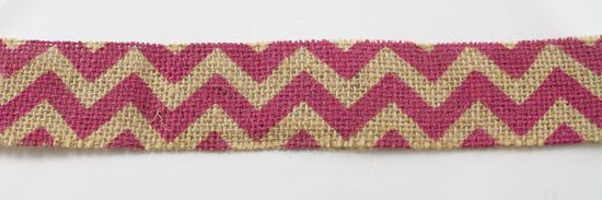 "1.5"" Cut Fuchsia Chevron Burlap Ribbon - 10 Yards"