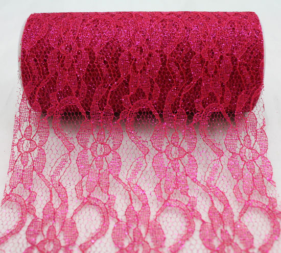 "Fuchsia Sparkle Lace Ribbon 6"" x 10 Yards"