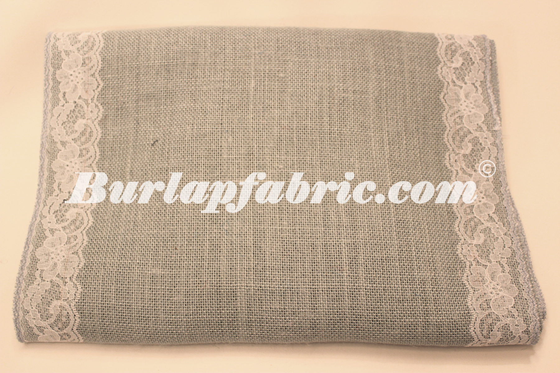 "14"" Ash Grey Burlap Runner with 2"" Whte Lace Ribbon"