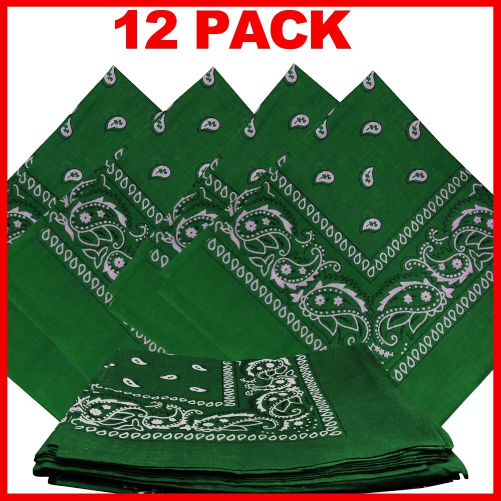"Green Paisley Bandanas (12 Pack) 22"" x 22"" 100% Cotton"