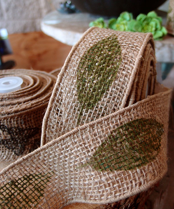 "2.5"" Natural Wired Burlap Ribbon Green Leaf Print 10 Yards"