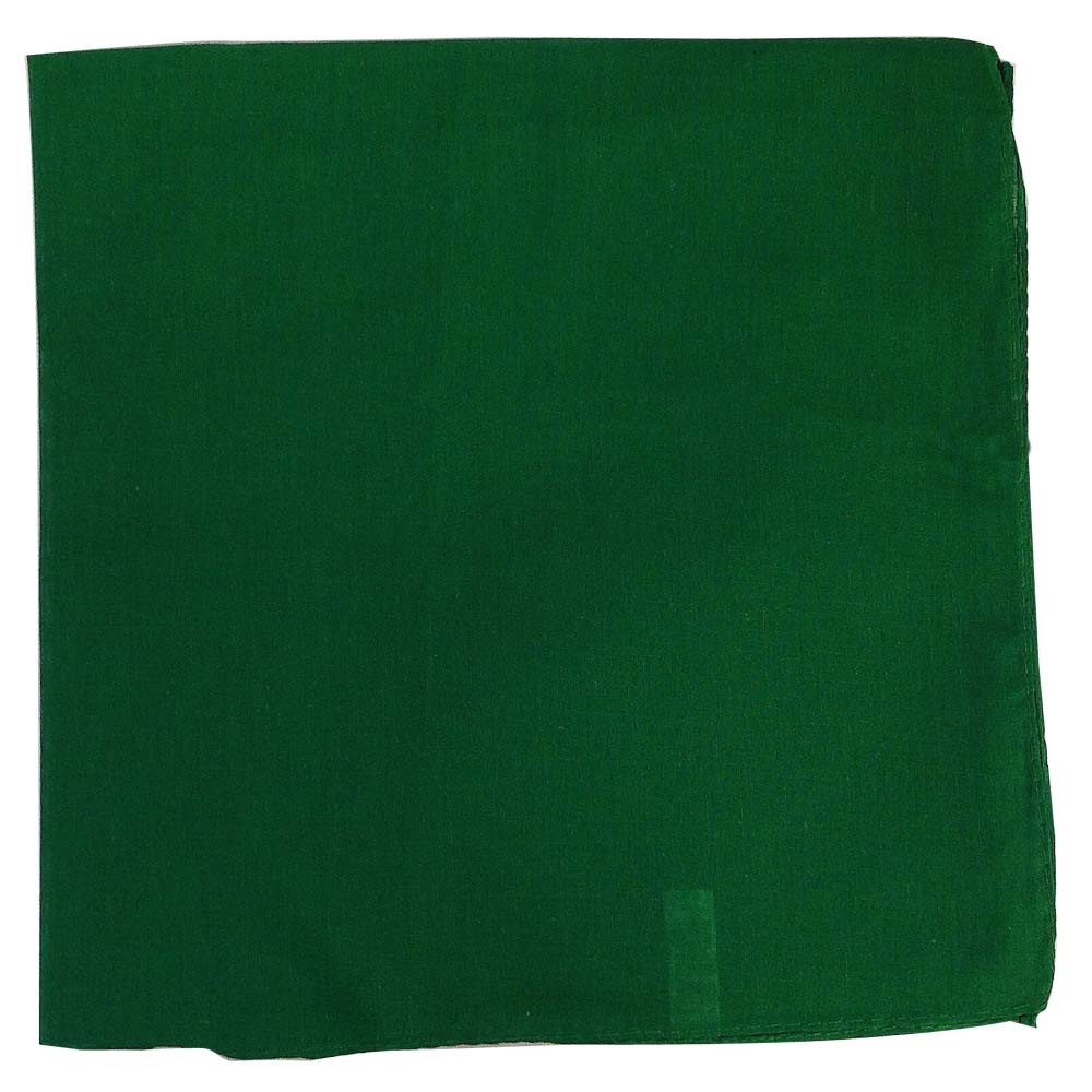 "14"" x 14"" Green Bandana Solid Color 100% Cotton"