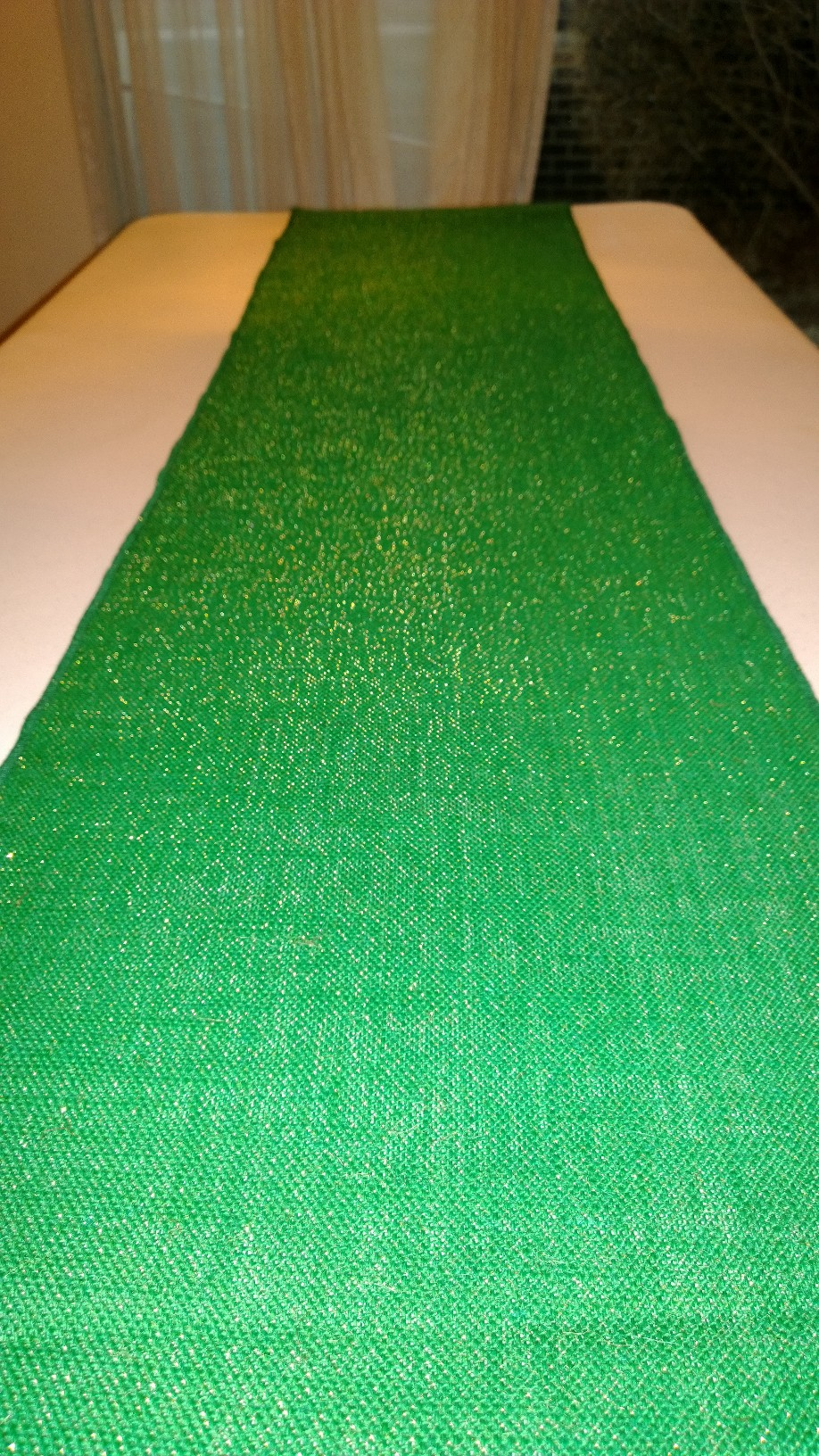 "Sparkle Green Burlap Runner - 14"" x 72"""