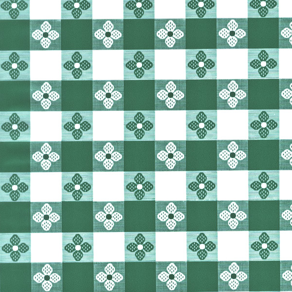 "54"" Green Tavern Check OilCloth without felt back - 40 Yards"