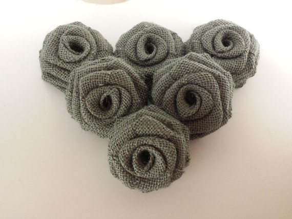 Grey Burlap Flowers (12 Pack)
