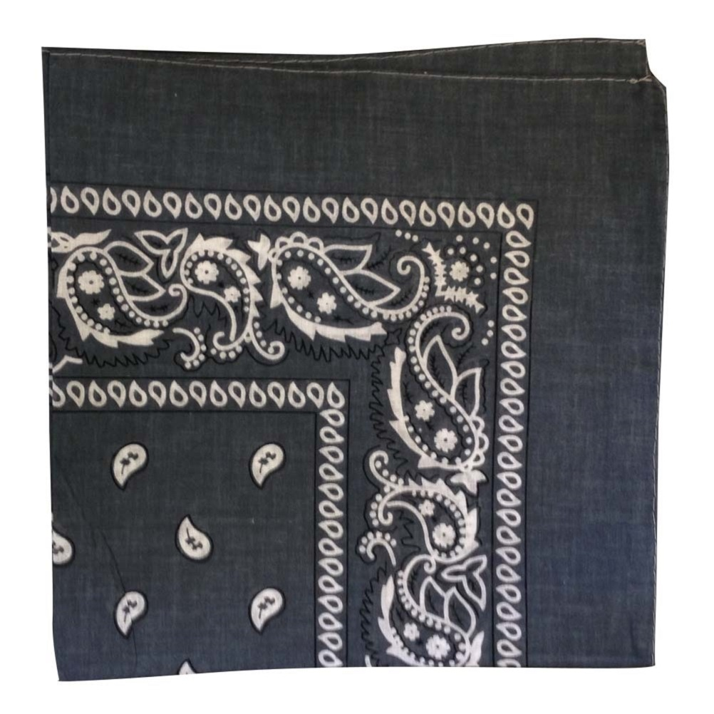 "Grey Paisley Bandana - 22"" x 22"" (100% cotton)"