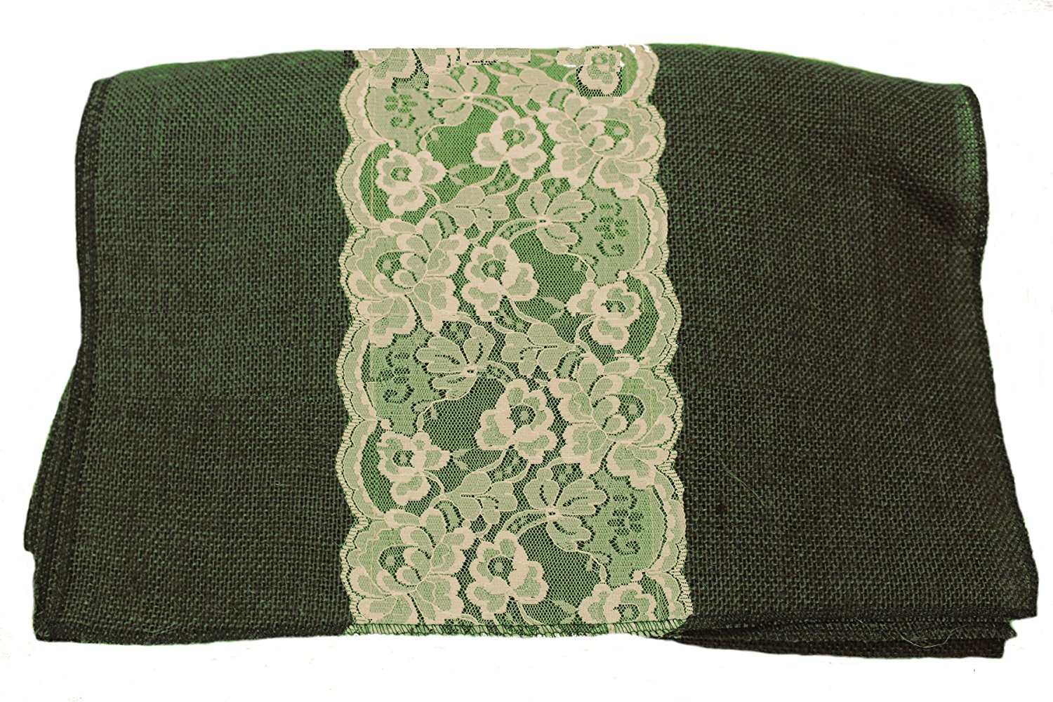 "14"" Hunter Green Burlap Runner with 6"" White Lace"