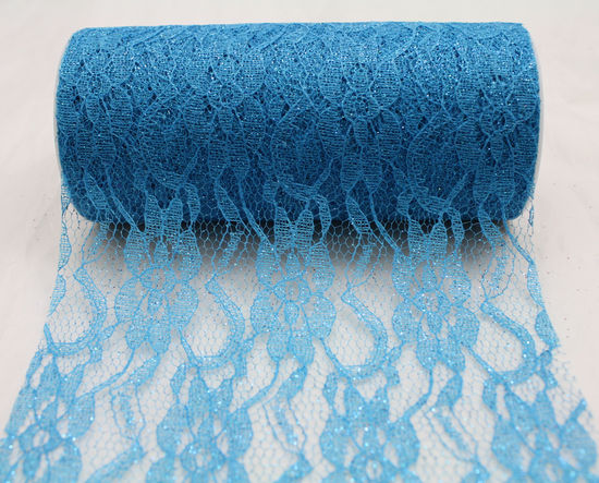 "Ice Blue Sparkle Lace Ribbon 6"" x 10 Yards"