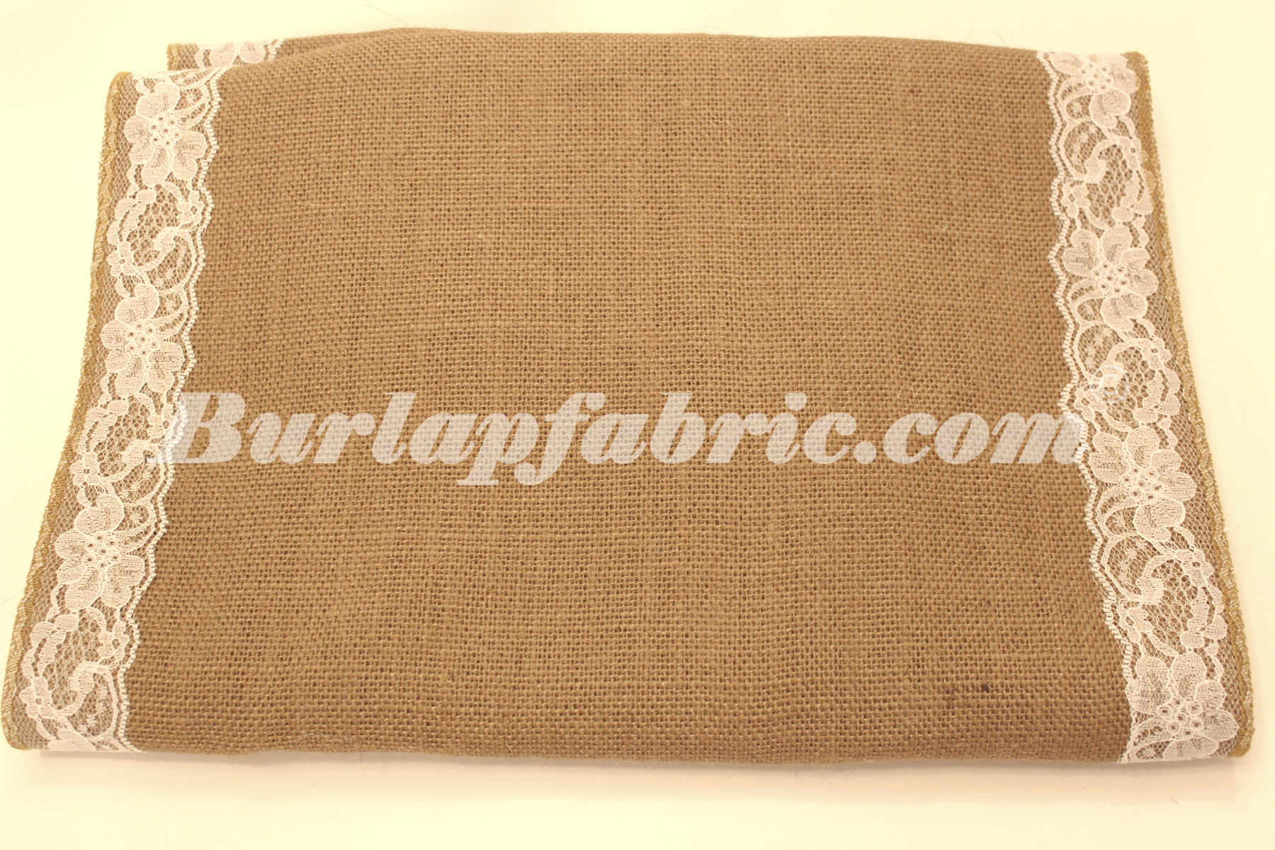 "14"" Idaho Burlap Runner with 2"" White Lace Borders"