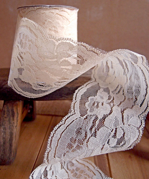 "3"" Ivory Lace Ribbon - 10 Yards"