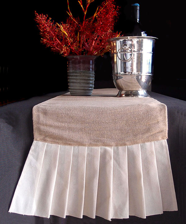 "Juco Table Runner with Cotton Ruffle - 14"" x 114"""