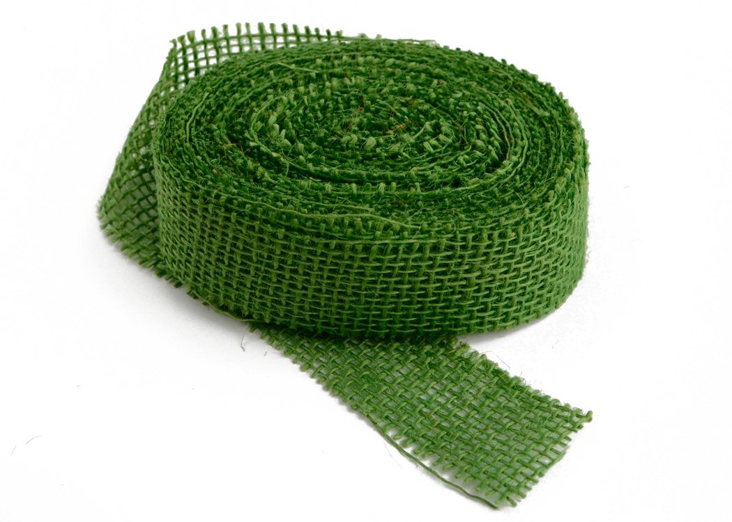 "1.5"" Jungle Green Burlap Ribbon 10Y (Sewn)"