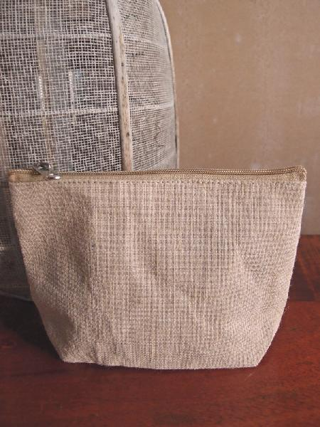 "Burlap Pouch with Zipper 8""W x 5.5""H x 2""Gusset"