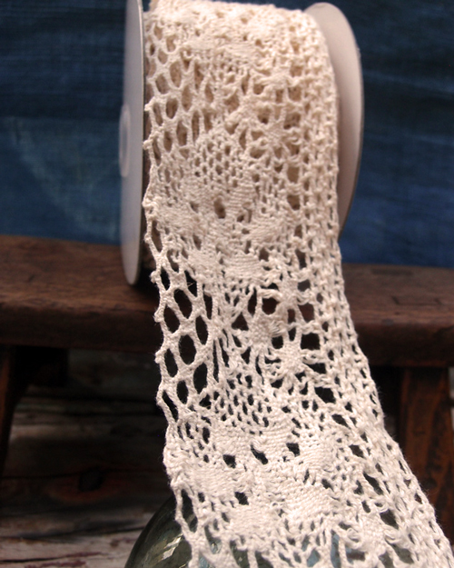 "2 3/4"" x 10 Yd Ivory Crochet Ribbon"