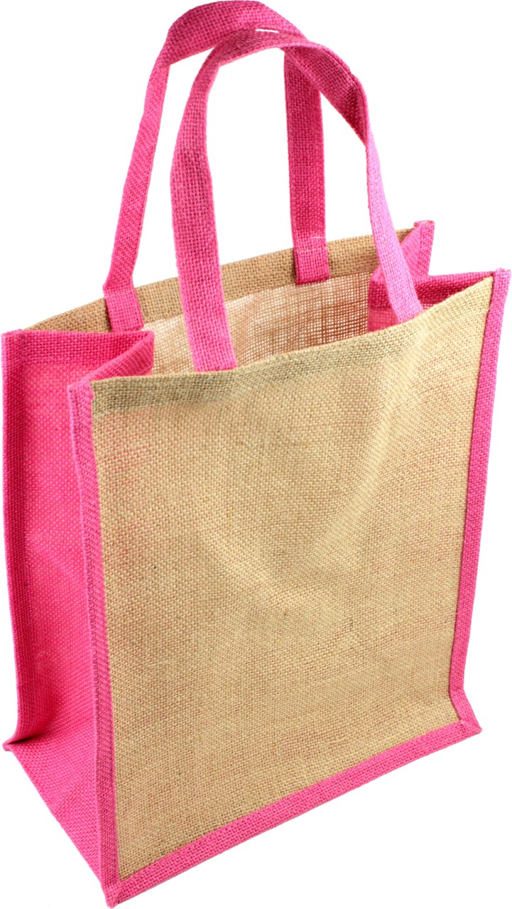 "12""W x 14""H x 7""D Jute Tote Bag With Pink Wall & Handles"