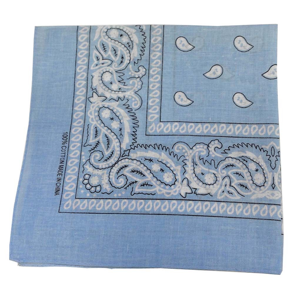 "Light Blue Paisley Bandana - 22"" x 22"" (100% Cotton)"