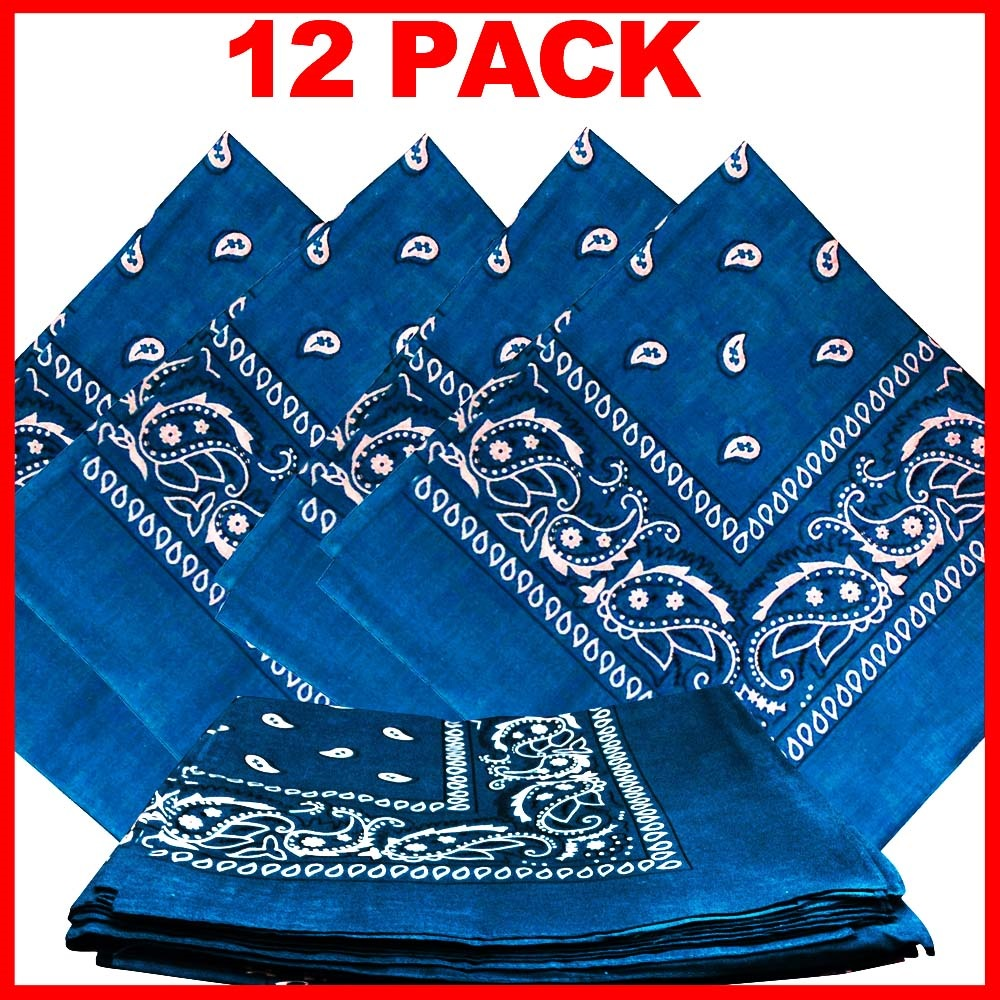 "Light Blue Paisley Bandanas (12 Pk) 22"" x 22"" 100% Cotton"