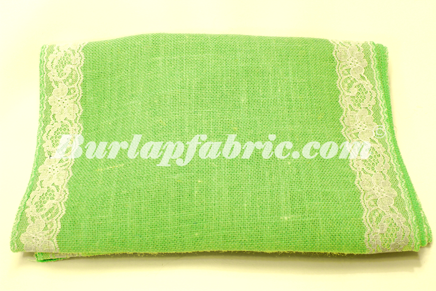 "14"" Lime Burlap Runner with 2"" White Lace Borders"