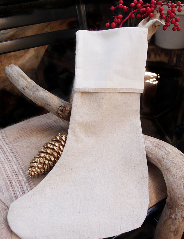 "Linen Stocking with White Cotton Lining - 6""(w) x 16""(h)"