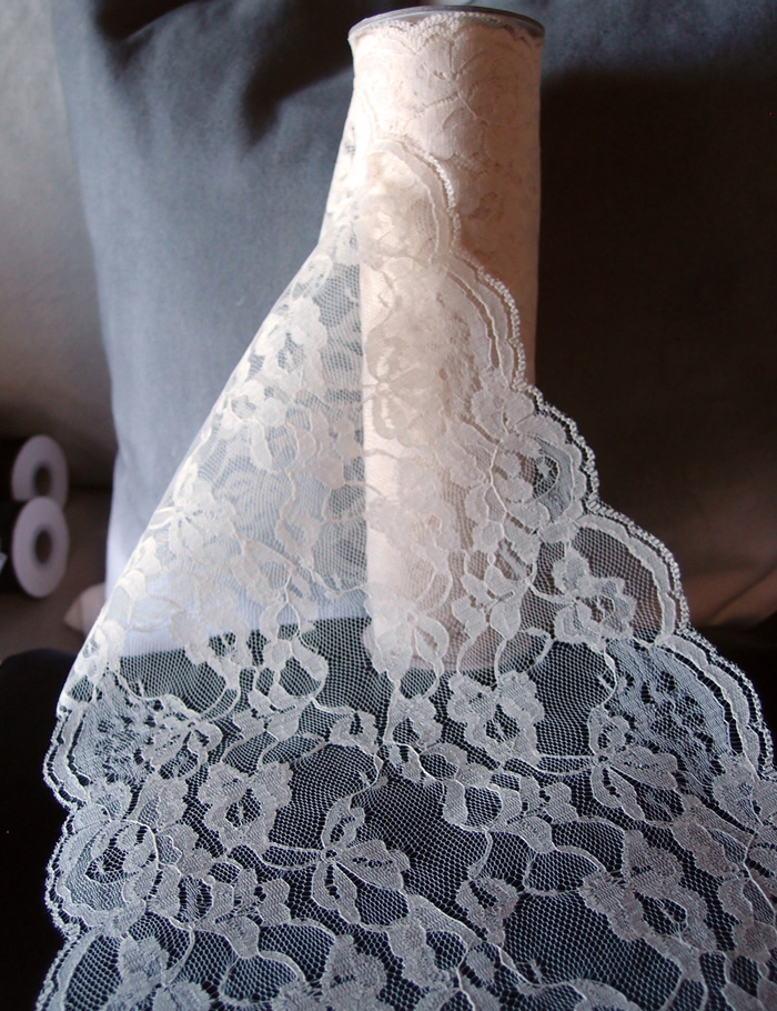 "9"" x 10 Yd Ivory Lace Riboon"
