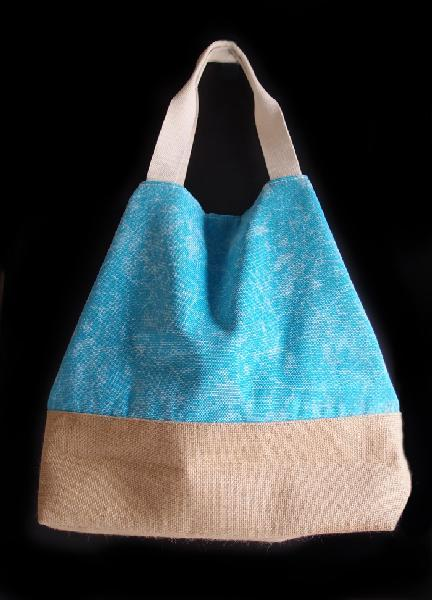 "Washed Canvas L/Blue Tote Bag With Burlap - 14""W x 16""H x 5 ½""D"