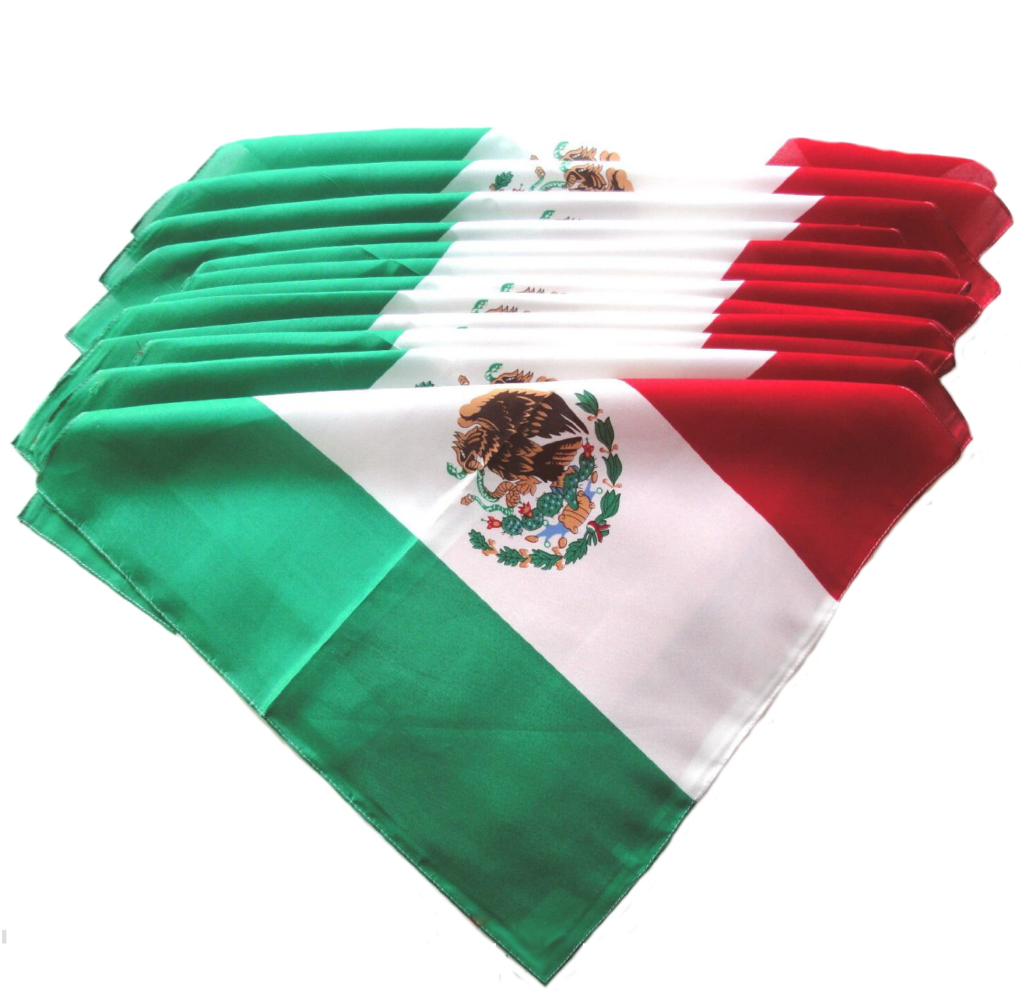 "Mexican Flag Bandanas - 12 Pack 22"" x 22"""