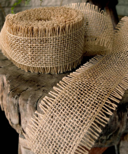 "2.5"" Natural Burlap Ribbon - 10 Yards (Sewn Frayed Edges)"