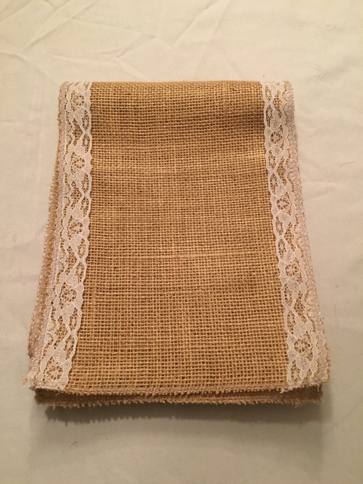 "7"" Natural Burlap Ribbon With White Floral Lace - 6 foot length"