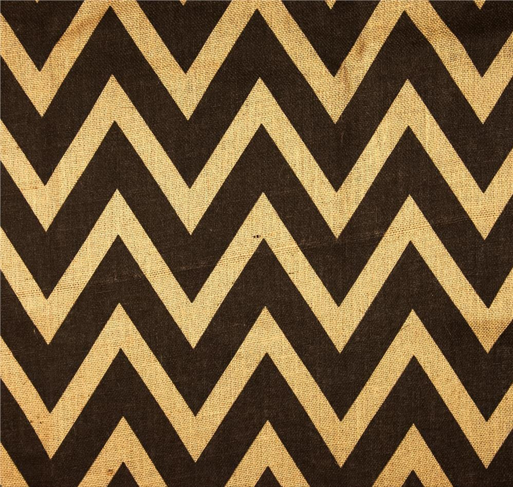 "Natural Black Chevron Burlap Bolt - 60"" (By The Yard)"