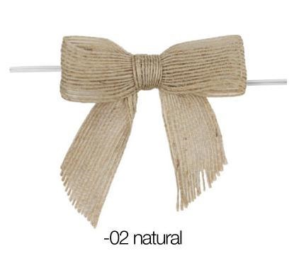 Natural Burlap Bows - Pretied (12 Pack)