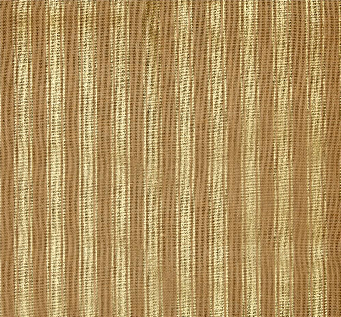 "60"" Metallic Foil Stripe Burlap Natural/Gold By The Yard"
