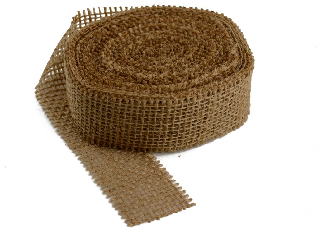 "Burlap Ribbon - 1.5"" Natural (Sewn Edges)"