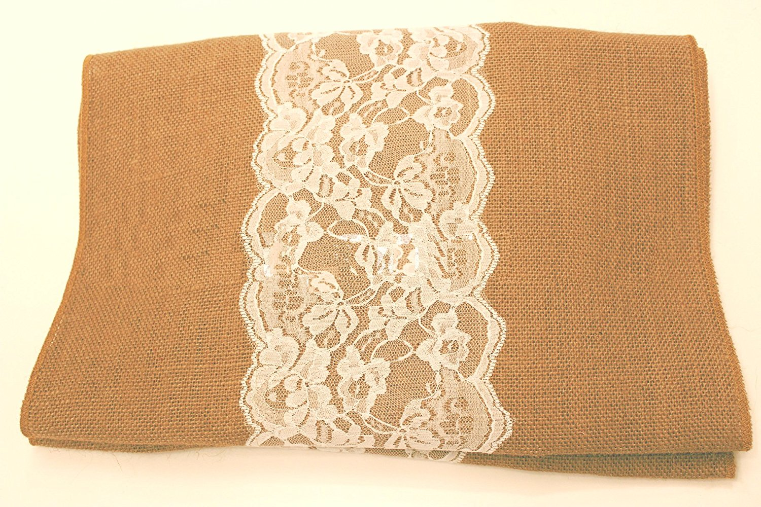 "14"" Natural Burlap Runner with 6"" White Lace"