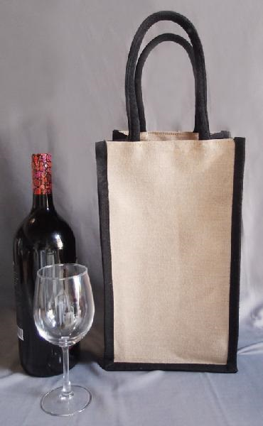 "Juco 2 Bottle Wine Bag w/ Dividers (Black Handles) 4"" x 8"" x 14"""