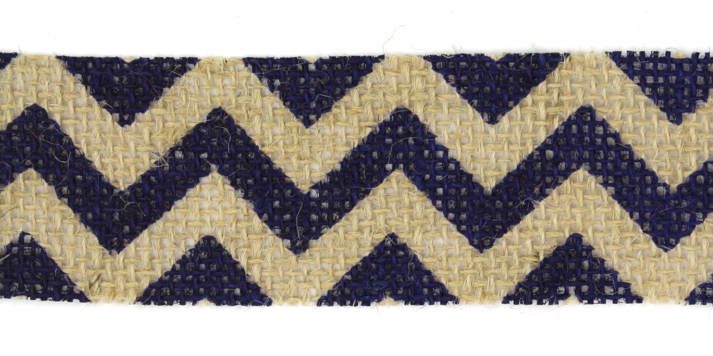 "1.5"" Cut Navy Chevron Burlap Ribbon - 10 Yards"