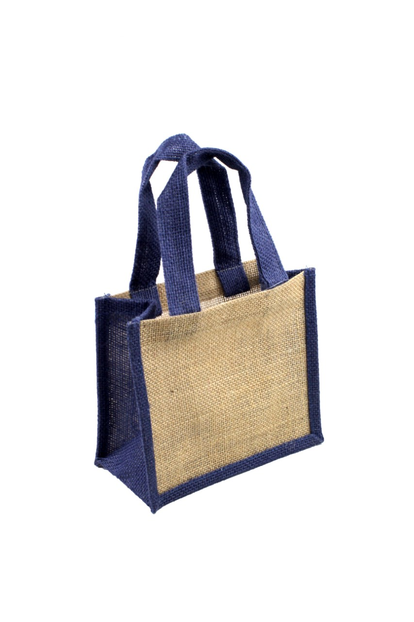 "8""W x 6""H x 4""D Burlap Tote With Navy Wall & Handle"