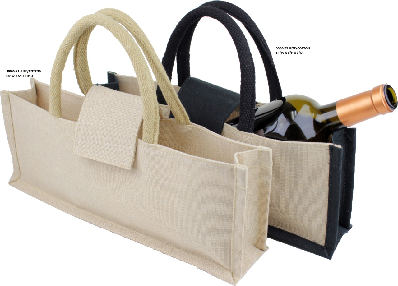 "Jute Wine Bag with Black or Natural Handles 14""W x 5""H x 3""D"