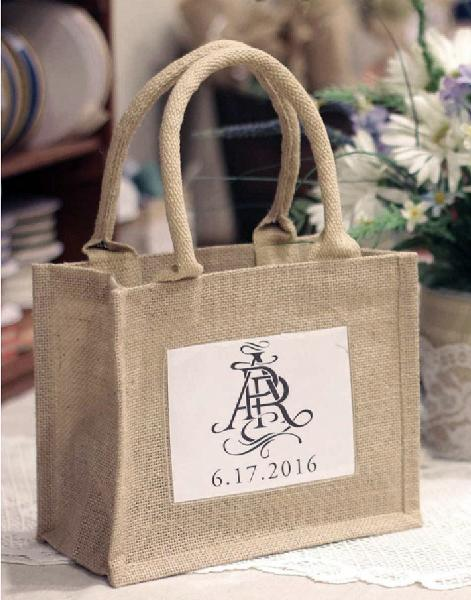 "Mini Jute Tote Bag With Window 10"" x 8"" x 5"""