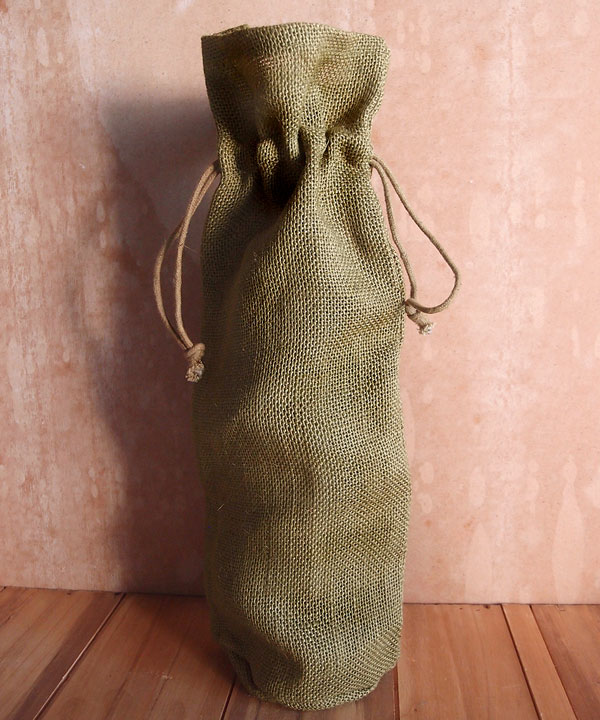 "Olive Green Jute Wine Bag With Drawstring 6"" x 15"" x 3.5"""