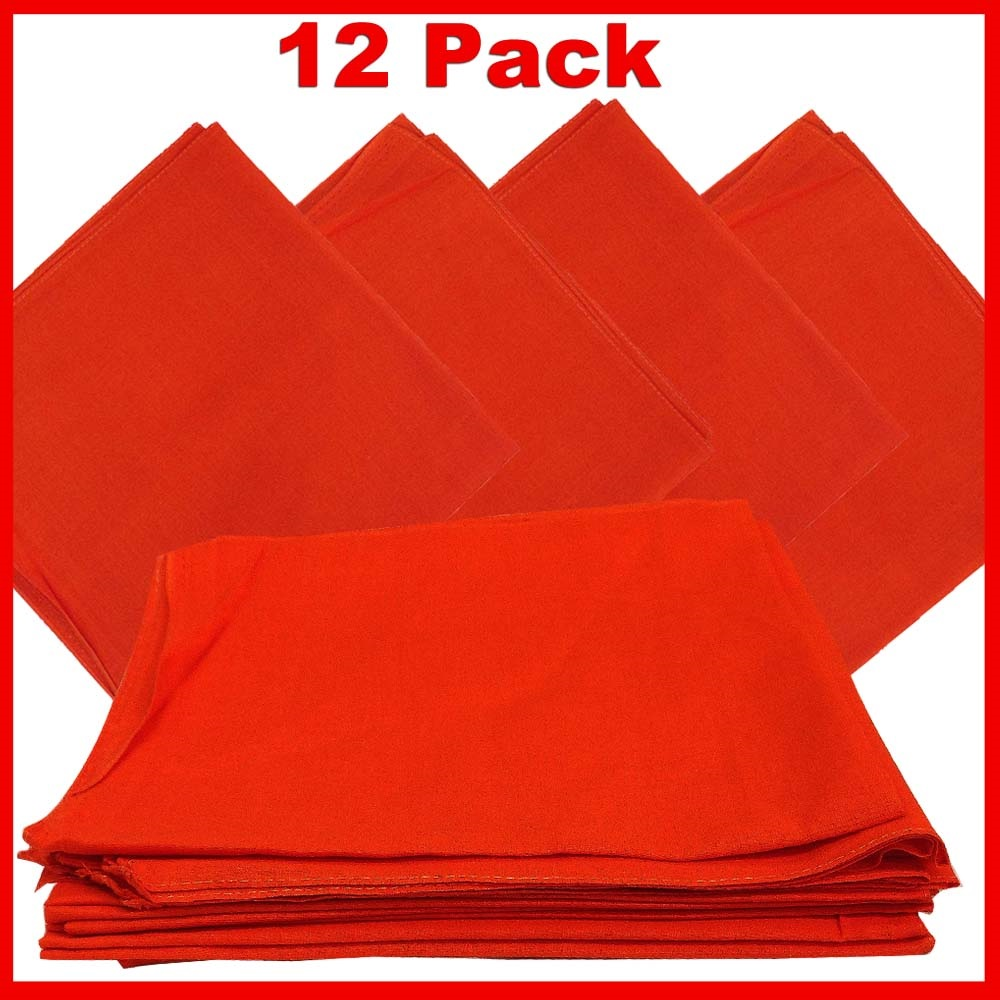 "14"" x 14"" Orange Bandanas Solid Color (12 Pk) 100% Cotton"