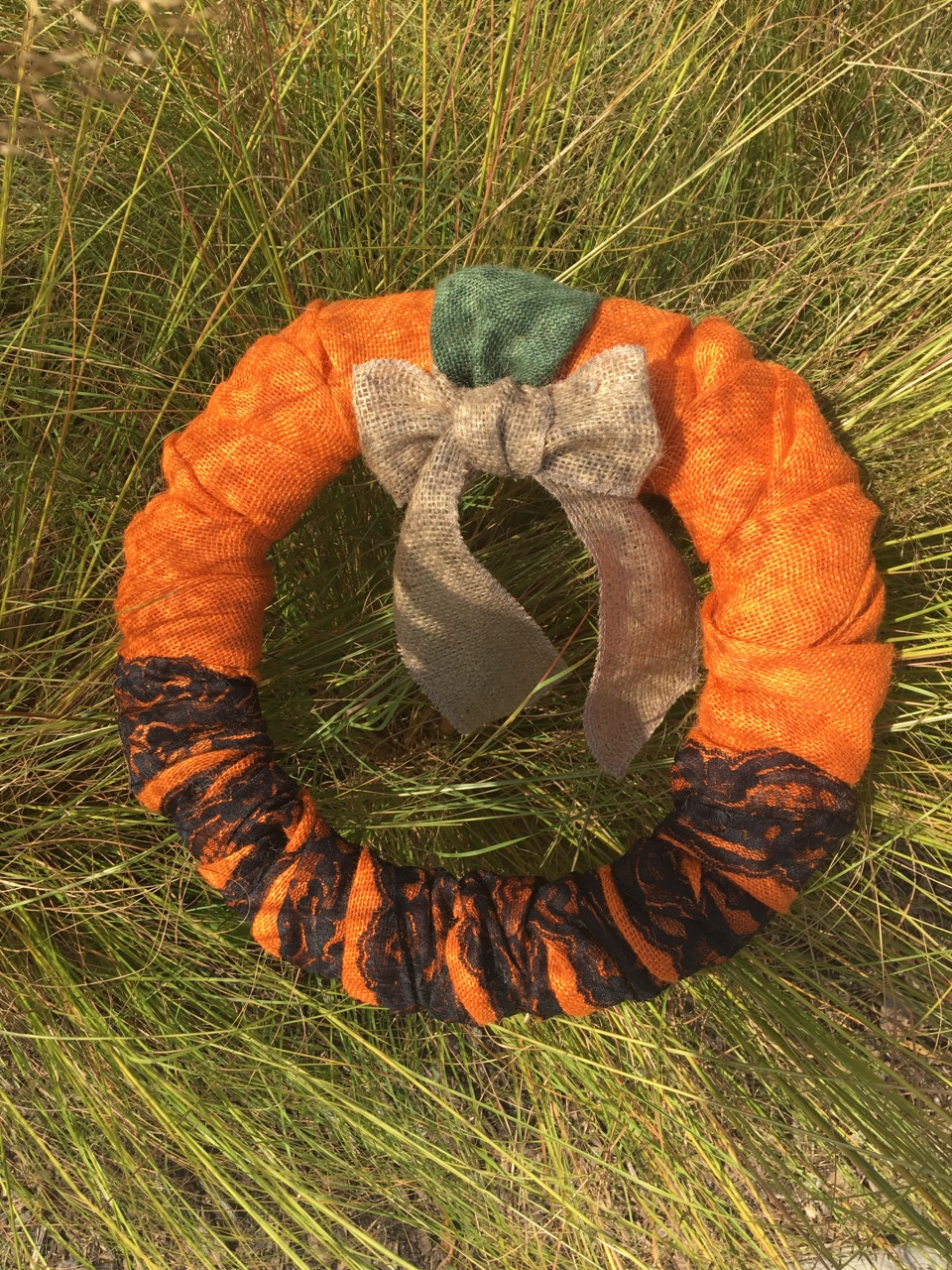 Burlap Wreath Orange/Green/Natural W/Black Lace & Natural Ribbon