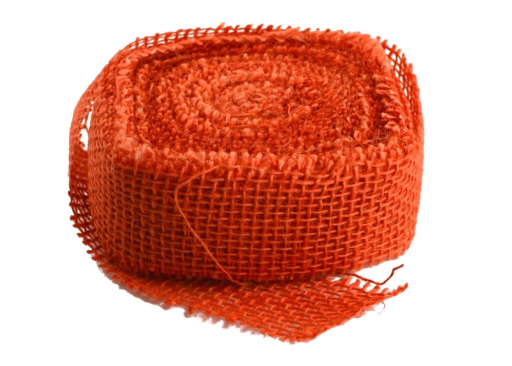 "1.5"" Wide Orange Burlap Ribbon - 10 Yards (Sewn Edges)"
